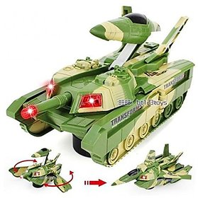 Convertible Tank & Aeroplane Jet Fighter Airplane Toy (Battery Operated) with Lights Shooting Music & Bump & Go Movement for Kids Green