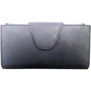 Ladies Wallete cum Purse, Pure Leather, Black