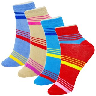 Neska Moda 4 Pair Women Cotton Striped Ankle Length Socks multicolor S425
