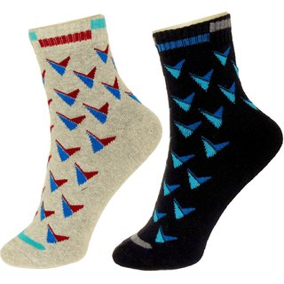 Neska Moda Premium 2 Pair Men Terry Cotton Ankle Length Exclusive Thick Socks Black Grey S372