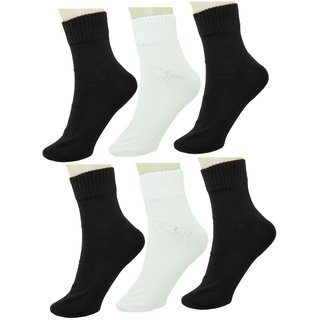 Neska Moda Men 6 Pairs Cotton Ankle Length Socks Black White