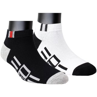 Neska Moda Premium Men 2 Pairs Cotton Ankle length Socks White Black S828