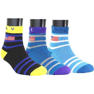 Neska Moda Men 3 Pairs Cotton Multicolor Ankle Length Socks S844