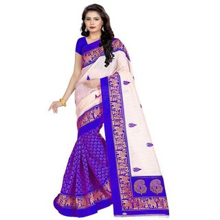 SVB Sarees Blue Bhagalpuri Silk Block Print Saree with Blouse Piece