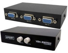 2 Ports VGA Switch to Connect Two CPU to One Display Media Streaming Device  (Black)