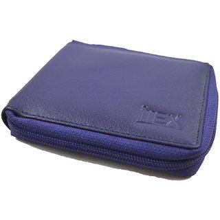 iMex Mens Blue Round Zipper Genuine Leather Wallets