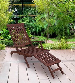 Outdoor Foldable Lounge cum Relaxing Chair in Brown Colour by Aura
