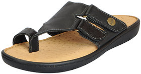 Dr.Scholls Men's Black Leather House And Daily Wear Toe