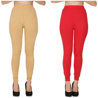 BuyNewTrend Plain Beige Red Full Length Churidar Legging For Women-Pack of 2