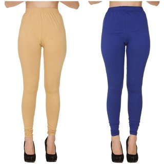 BuyNewTrend Plain Beige Royal Full Length Churidar Legging For Women-Pack of 2