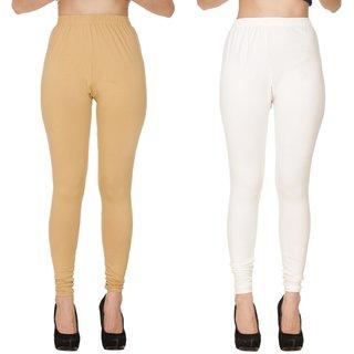 BuyNewTrend Plain Beige White Full Length Churidar Legging For Women-Pack of 2