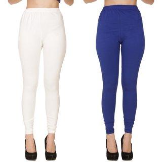 BuyNewTrend Plain White Royal Full Length Churidar Legging For Women-Pack of 2