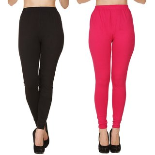 BuyNewTrend Plain Black Pink Full Length Churidar Legging For Women-Pack of 2