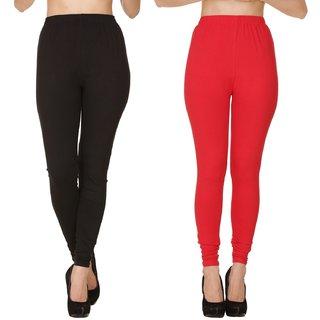 BuyNewTrend Plain Black Red Full Length Churidar Legging For Women-Pack of 2