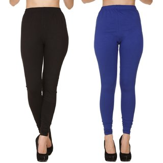 BuyNewTrend Plain Black Royal Full Length Churidar Legging For Women-Pack of 2