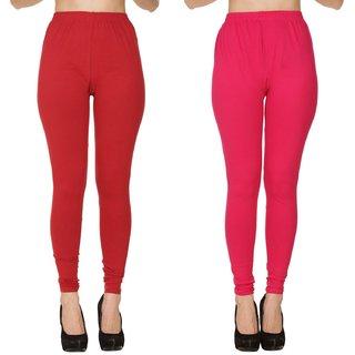 BuyNewTrend Plain Maroon Pink Full Length Churidar Legging For Women-Pack of 2