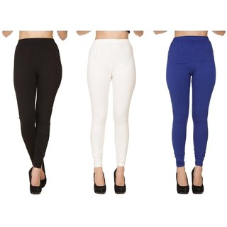 BuyNewTrend Plain Black White Royal Full Length Churidar Legging For Women-Pack of 3
