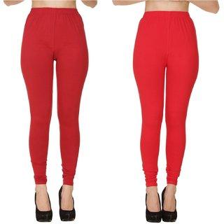 BuyNewTrend Plain Maroon Red Full Length Churidar Legging For Women-Pack of 2