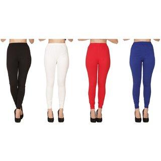 BuyNewTrend Plain Black White Red Royal Full Length Churidar Legging For Women-Pack of 4