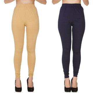 BuyNewTrend Plain Beige Black Full Length Churidar Legging For Women-Pack of 2