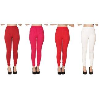 BuyNewTrend Plain Maroon Pink Red White Full Length Churidar Legging For Women-Pack of 4