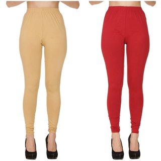 BuyNewTrend Plain Beige Maroon Full Length Churidar Legging For Women-Pack of 2