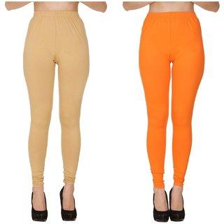 BuyNewTrend Plain Beige Orange Full Length Churidar Legging For Women-Pack of 2