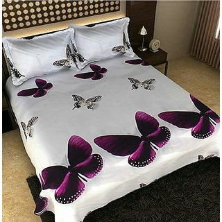 Butterfly Print 3D Double Bedsheet With 2 Pillow Covers (228 cm x 228 cm)