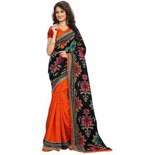 Svb Sarees Orange Colour Bhagalpuri Silk Saree With Blouse Piece
