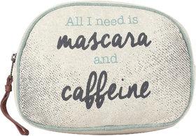Mona B  Up Cycled  Canvas Bag  Mascara  Caffeine Cosmetic  Makeup Bag  Size 9W - 6H 3D  2 Handle