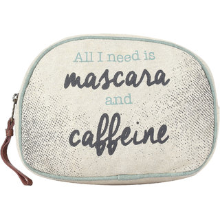 Mona B Up Cycled Canvas Bag Mascara Caffeine Cosmetic Makeup Bag Size 9W - 6H 3D 2 Handle