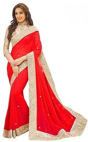 G Jelly Fashion Women's Red Colour lycra Stone work designer sari with blouse piece