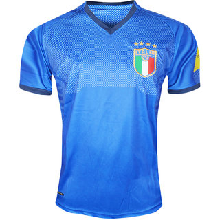 online store aa48c 9aaaf Italy National Football Team Blue Color Half Sleeve Dry Fit Jersey