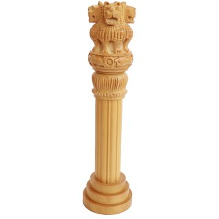 Wooden Ashoka Pillar with Carvings for Home Decor - 14 Inches