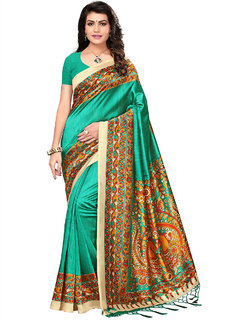 Ticknmart Women's Printed Art Silk Saree With Blouse