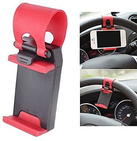 Retractable Silicon Car Steering Wheel Universal Mobile Phone Socket Stand Holder Clip (Assorted Colors)