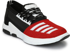 Lavista Men's Red And Black Net Febric And Synthetic Le