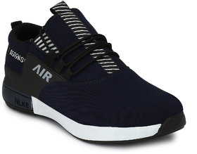 Lavista Blue Fabric Air Mix Slip On Sneaker Casual Shoes For Men
