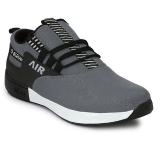 Lavista Gray Fabric Air Mix Lace-up Casual Sneakers For Men