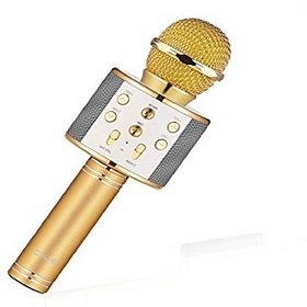 techdeal WS858 Wireless Bluetooth Karaoke ,3-in-1 Portable Hand microphone Speaker for all Smartphones (Gold)
