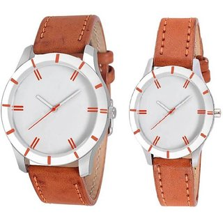 TRUE CHOICE ORANGE COUPLE LEATHER ANALOG WATCH FOR COUPLE.
