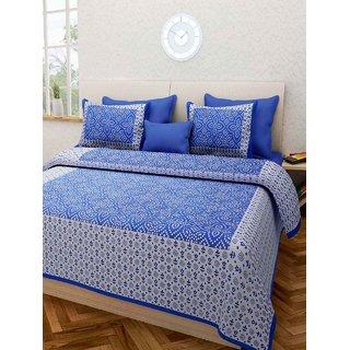 Dinesh Enterprises 144 TC Cotton Double Bedsheet with 2 Pillow Covers - Blue