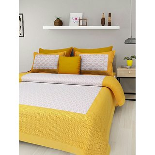 Dinesh Enterprises 170 TC Cotton Double Bedsheet King Size with 2 Pillow Covers