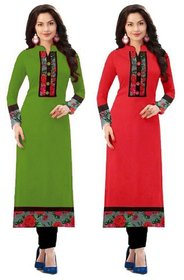 Omstar Fashion By New Designer Mendi and Red Color  Printed Indo cotton Semi stitched Kurti (MEDI+RED)