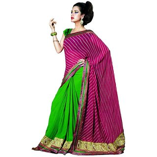 Embroidered Pink/Green/Crush Georegtte Saree SC3309