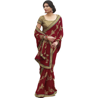 Designer Red Georgette Heavy Embroidered Saree SC2466