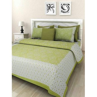 Dinesh Enterprises, Rajasthani Tradition 180 TC Cotton Double Bedsheet with 2 Pillow Covers - Green