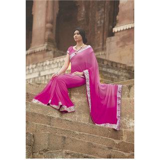 Designer Pink Chiffon Border Embroidered Saree SC2493