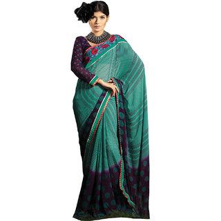 Designer Purple Green Georgette Embellished saree SC1411