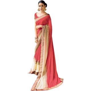 Designer Partywear Red Cream Embroidered Chiffon Saree SC2569